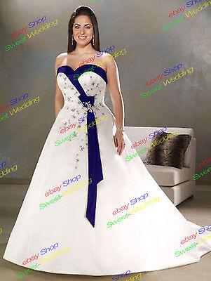 White/Ivory&Burgundy/Purple/Blue Wedding Dress Bridal Gown Plus Size:18~28 lot
