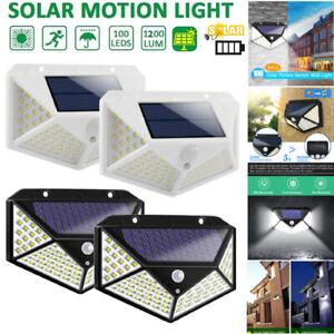 100LED Wandleuchte Solarleuchte mit PIR Bewegungsmelder Außenlampe Gartenlampe