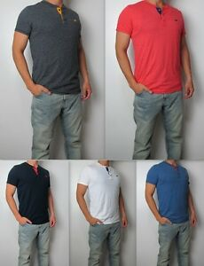 NWT-Hollister-HCO-Men-Soft-Must-Have-Slim-Fit-Henley-Tee-Shirt-By-Abercrombie