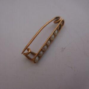 Broche-or-6-perles-femme-bijou-joaillerie-vintage-Art-Deco-Nouveau-France-N4040