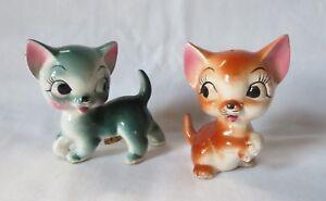 Vintage-KITTEN-amp-MOUSE-SALT-amp-PEPPER-SHAKER-Anthropomorphic-big-eye-cat