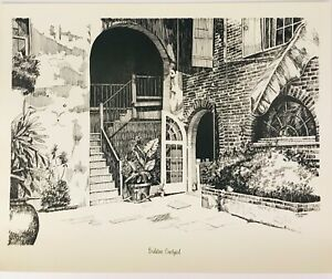 Brulatour-Courtyard-New-Orleans-H-A-Perez-1970-Vintage-Lithography-Sketch