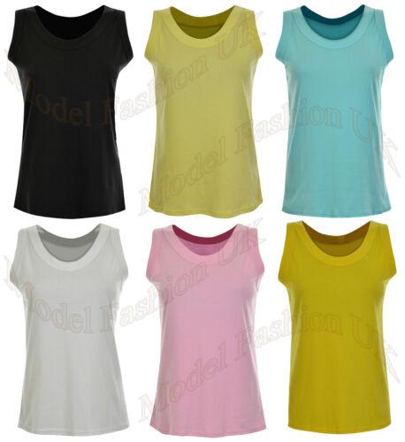 Petite Ladies Plain Sleeveless Stretch Fit Cotton Casual Vest T-Shirt Size 16-26