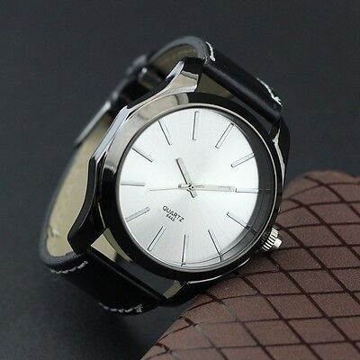 Men's Leatheroid Band Stainless Steel Case White Dial Quartz Watches Gift