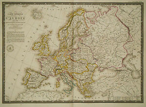 1826 Genuine Antique large hand colored map of Europe in 1789. by ...