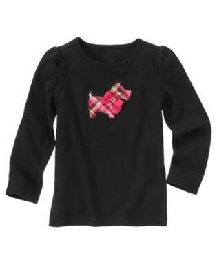 GYMBOREE CHEERY ALL THE WAY BLACK PLAID SCOTTIE DOG L//S TEE 3 5 10 NWT