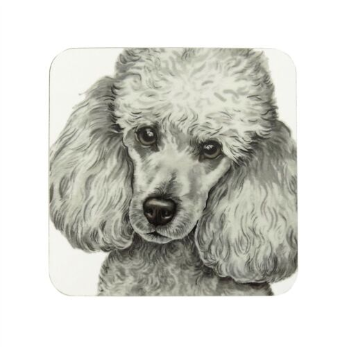 WAGGY DOGZ WHITE MINIATURE POODLE DOG PUPPY MADE IN UK PRESENT GIFT COASTER