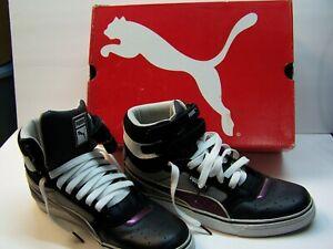 Puma-First-Round-High-Top-Black-Suede-Neon-Purple-Men-039-s-9-5