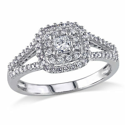 Amour 1/2 CT TW  Halo Diamond Engagement Ring in 14k White Gold