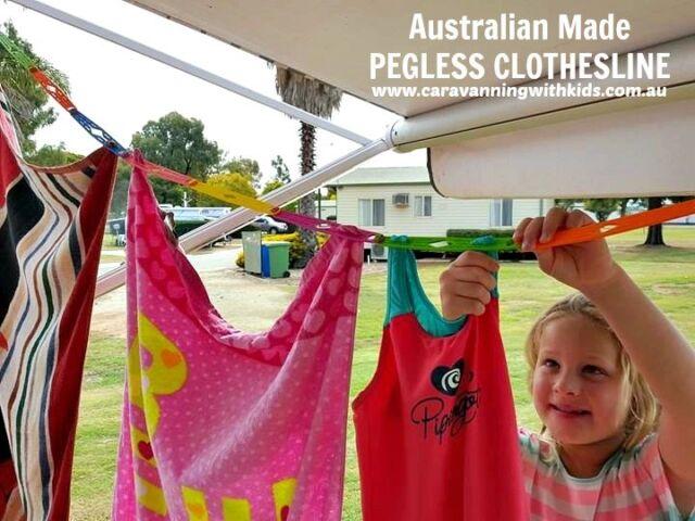 RAINBOW Pegless Clothesline Australian Made Camping Cruising Caravan Overseas
