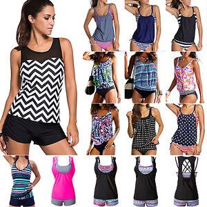 Image is loading Womens-Push-up-Swimming-Costume-Tankini-Bikini-Beach-  sc 1 st  eBay & Womens Push-up Swimming Costume Tankini Bikini Beach Swimwear ...