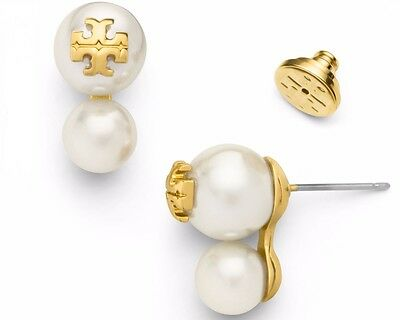 Auth NEW Tory Burch Evie Double Pearl Crystal Stud Earrings 16k Gold Logo