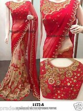 RED COLOR SEQUANCE LACE EMBROIDERED BLOUSE DESIGNER FANCY PARTY WEAR ETHNIC SARI