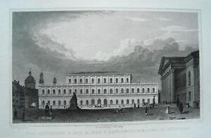 Muenchen-Theater-und-Koenigsbau-Bayern-echter-alter-Stahlstich-1840
