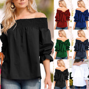 Women-Off-Shoulder-Boho-Bowknot-Top-Loose-Flare-Sleeve-Casual-T-Shirt-Blouse-Tee