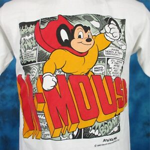 vintage-90s-MIGHTY-MOUSE-2-SIDED-CARTOON-T-Shirt-S-M-terry-toons-hip-hop