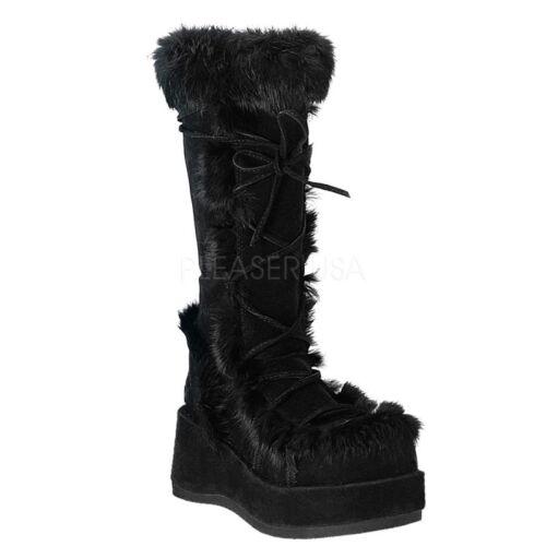 fausse hiver Cubby fourrure punk gothiques chaudes noires à Demonia 311 Bottes sexy en plateforme nqCxZBvtw0