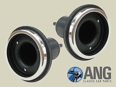 SPITFIRE,GT6,TR3,TR4,TR4A,TR5 L594 TYPE LAMP RUBBER BOOTS & CHROME BEZELS x 2