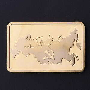 CCCP-USSR-Soviet-Union-Russia-Map-Gold-Plated-Bar