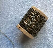 Wooden Spool of Vintage Gold Metallic Thread Dark Color  French 50 Yrds +
