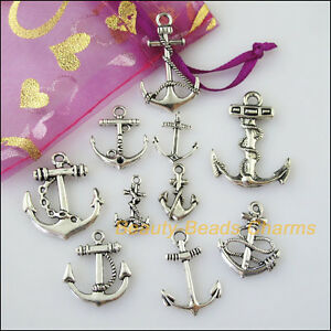 10 New Mixed Lots of Tibetan Silver Tone Anchor Charms Pendants