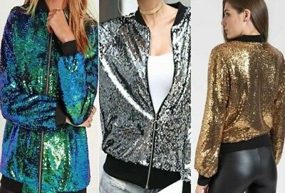 GLITTER con Paillettes Bomber Jacket Coat Clubbing Top Da Donna Motociclista Festival Party Club