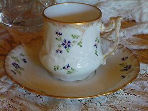 Untertasse Blumen Frankreich Ende des XIX Jh Altes Limoges Set Tasse G36