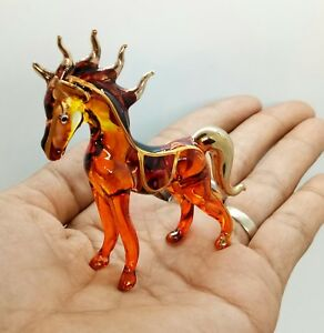 Horse Minni Animal Clear GlassTrim Hand Blown Figurine  Gift Miniature Gold New