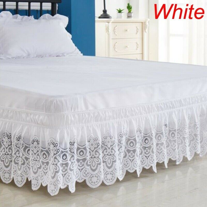 3 Sided Elastic Lace Wrapped 15 Inches, Queen Size Bed Skirt 15 Drop