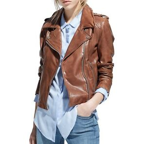 Women-039-s-Genuine-Leather-Motorcycle-Slim-Fit-Brown-Biker-Jacket