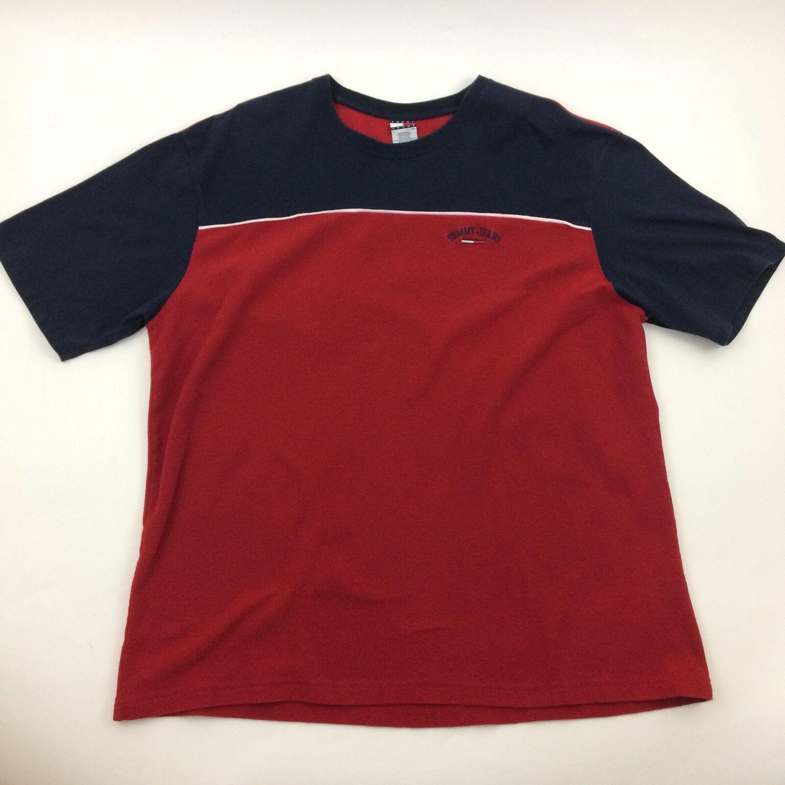 Tommy Hilfiger S/S Knit Shirt Größe XXL Vtg 90s Tommy Jeans Logo ROT Weiß Blau