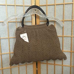 Nine-West-brown-woven-Crochet-Satchel-Handbag-Purse-Wallet
