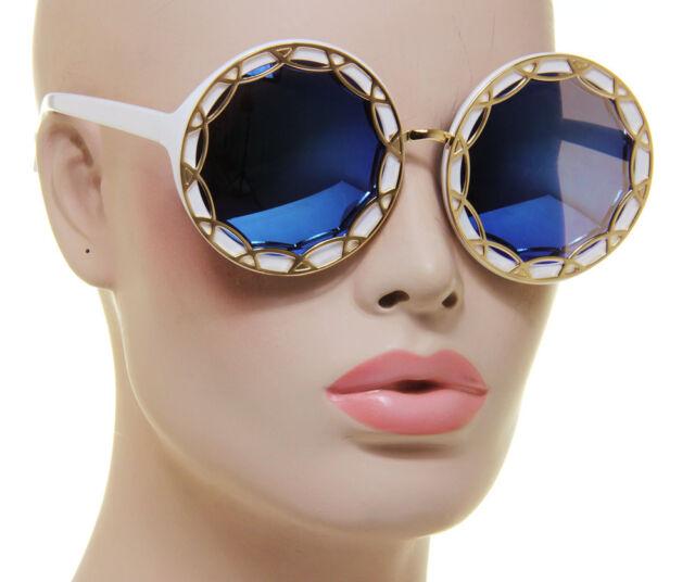 Women Sunglasses White Oversized Round Blue Flash Mirror Lens Retro Eyewear