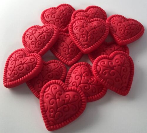18 Love Hearts Edible Sugar Cake Toppers Valentines Anniversary Cake Decorations
