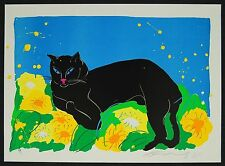 Walasse Ting Black Cat 1981 Art Print Lithograph on Arches Archival Paper