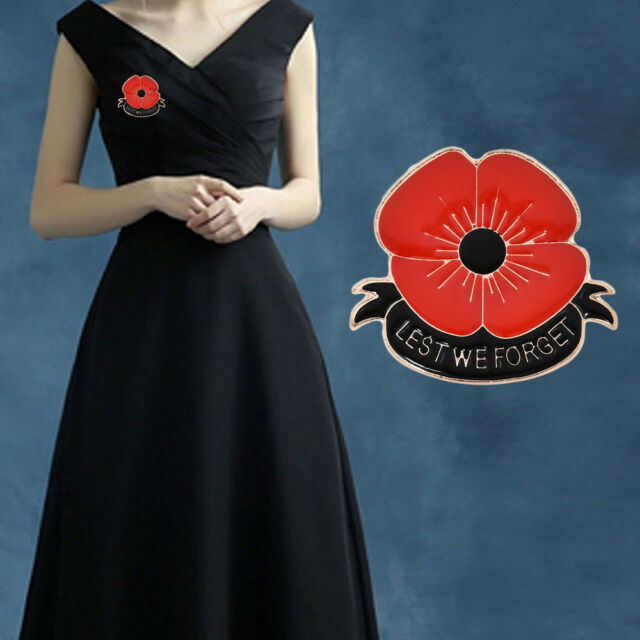 Enamel Remembrance Brooch Red Poppy Flower Lapel Pin Broach Badge