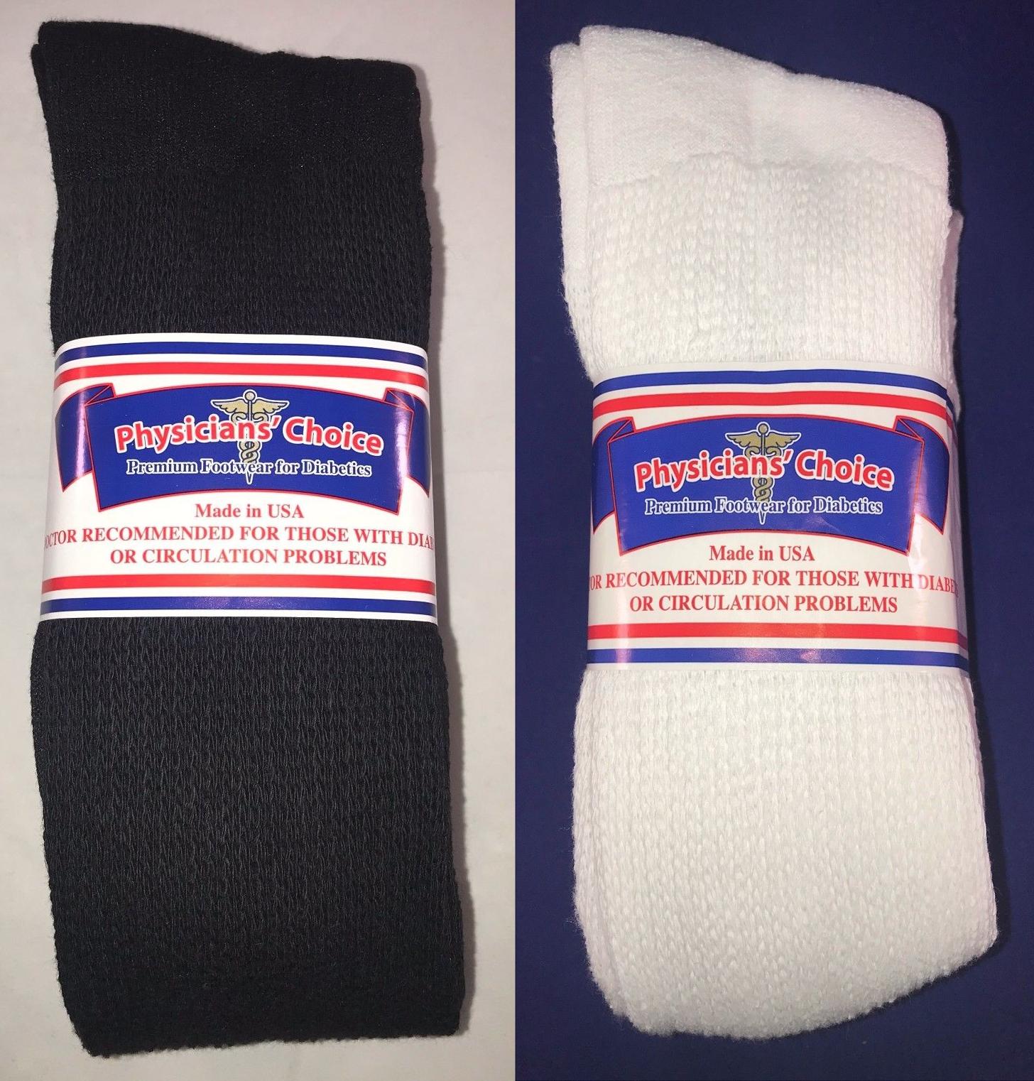 Physicians Choice 12-pr white crew 13-15 BIG MEN/'S-Diabetic Cushioned socks