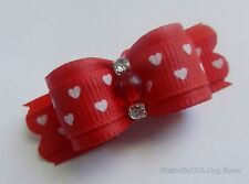 PrattvilleUSA Dog Bow ~ 5/8 ~ Hearts on Red ~ Shih Tzu Yorkie Hair Bow