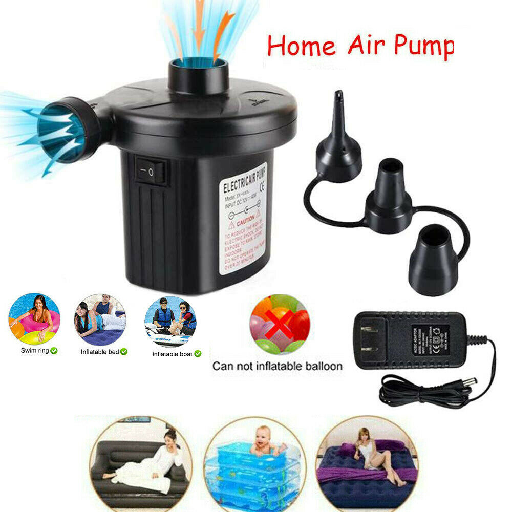 150W DC for Pool Float Raft Airbed Sucastle Electric Air Pump Portable air Mattress Pump for inflatables with 3 Nozzles