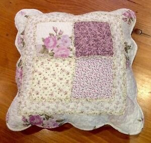 Shabby Chic Cushion Pillow Cover Sham Mauve Pink Green Off White Patchwork eBay