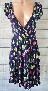 ASOS-Dress-Skater-Fit-Flare-Wrap-Shift-Size-10-Medium-Blue-Purple-Pink-Floral
