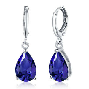 18K-White-Gold-Plated-Blue-Drop-Dangle-Lever-Back-Earrings