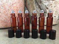 Set Of 6 Amber 10ml Rollon Bottles W Metal Roller Ball Tops-for Essential Oils