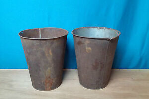 2 LARGE ANTIQUE TIN SAP Bucket w/ OLD RUSTIC COLOR GREAT DECOR FLOWERS Planters!