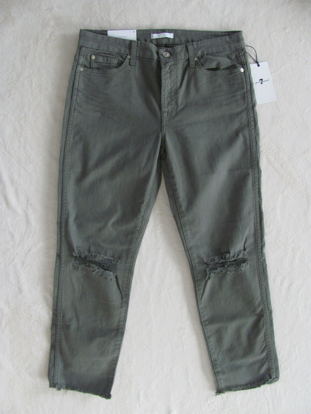 7 for all Mankind Ankle Slim Straight Jeans-Destroyd-Moss Green-Size 31-NWT