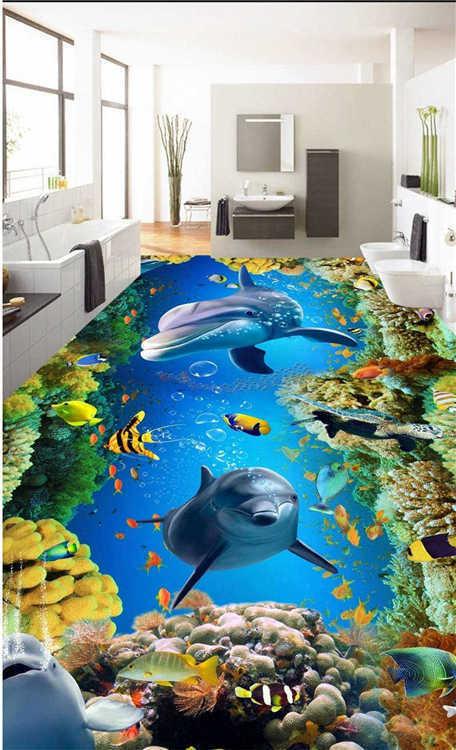 Fiercely Shark 3D Floor Mural Photo Flooring Wallpaper Home Printing Decoration