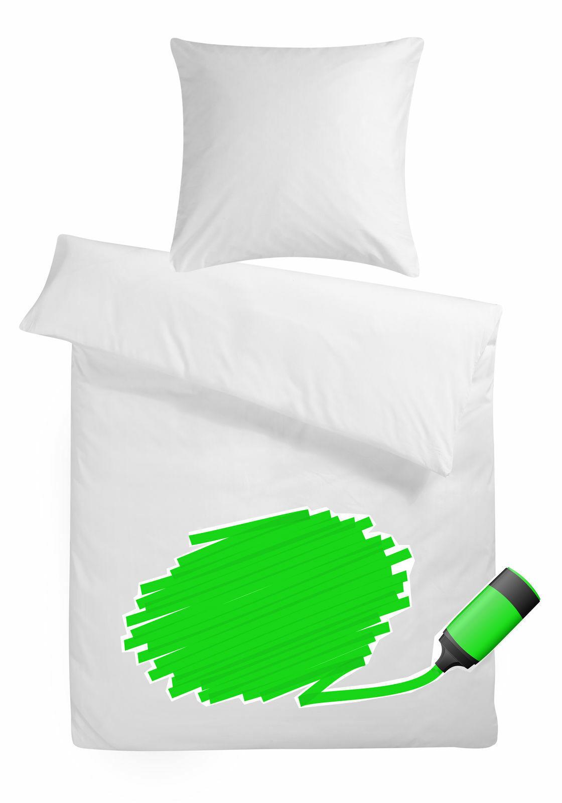 Bettwäsche Mako Satin zum bemalen 5 Textilmarker Baumwoll Garnitur Bettbezug Set