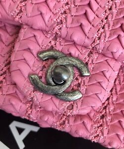 31edc9f32f75 Image is loading CHANEL-Dark-Pink-Embroidered-Lambskin-Square-Mini-Flap-