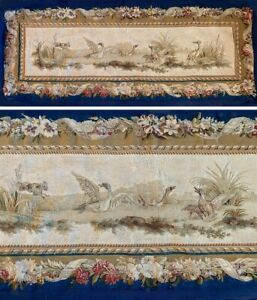Antique-French-65-034-x-27-034-Tapestry-Aubusson-or-Beauvais-Dog-amp-Waterfowl-c-1770