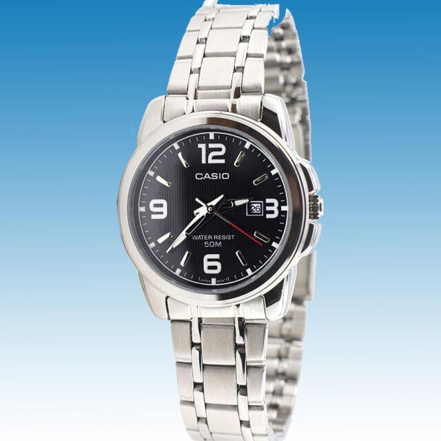 Casio LTP-1314D-1AV Ladies Black Watch Stainless Steel Band Date Display New